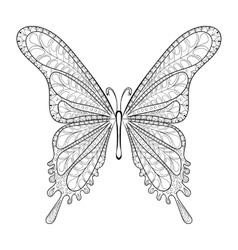 Hand drawn entangle tribal butterfly pattern vector