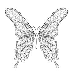 Hand drawn zentangle tribal butterfly pattern vector