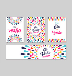 Hello summer portuguese greeting card label set vector