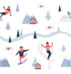holiday seamless pattern with people doing sports vector image