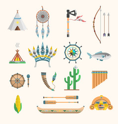 Indian boho icons elements traditional vector