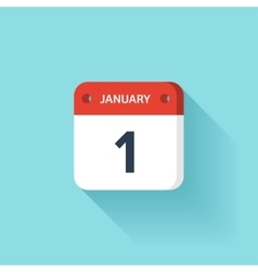 January 1 Isometric Calendar Icon With Shadow vector