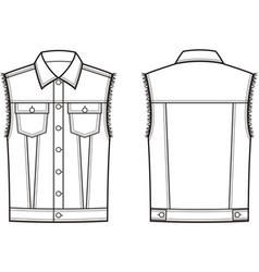 jean vest front and back vector image