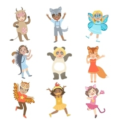 Kids Dressed As Animals Set vector image