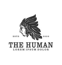 Logo apache man wearing an indian chief headdress vector