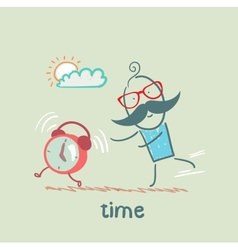 Man catching clock vector