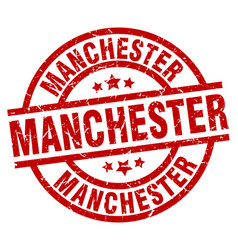 Manchester red round grunge stamp vector
