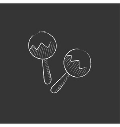 Maracas Drawn in chalk icon vector