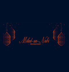 Milad un nabi traditional islamic banner design vector