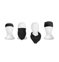 mock up black set bandana buff for head on the vector image