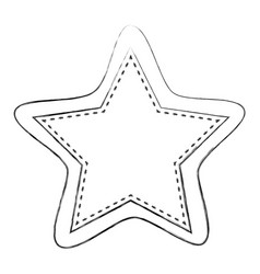 Monochrome blurred contour of star shape frame vector