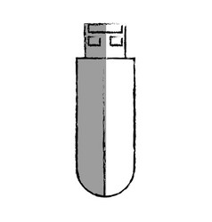 Monochrome blurred contour with usb stick vector
