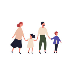 mother father son and daughter portrait vector image