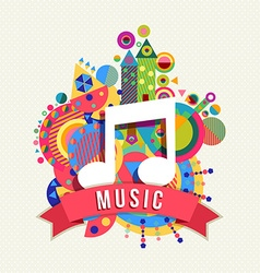 Music note icon audio label with color shapes vector image