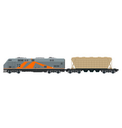 Orange locomotive with hopper car vector