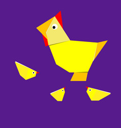 origami chicken and chicken vector image