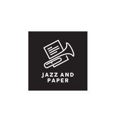 paper clip brass jazz music instrument sheet logo vector image