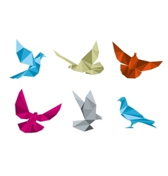 Paper pigeons doves origami set vector image