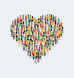 people community heart shape group love crowd vector image