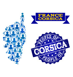 People composition mosaic map corsica and vector