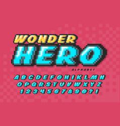 pixel font design super hero style vector image