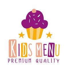 premium quality kids food cafe special menu for vector image