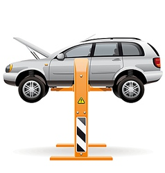 Repair car on a lift vector