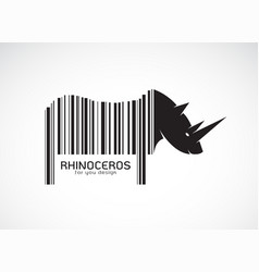 rhinoceros on the body is a barcode wild animals vector image