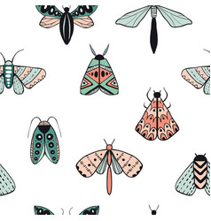 seamless pattern with decorative butterflies vector image