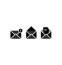 Set envelope icon with closed letter image paper vector