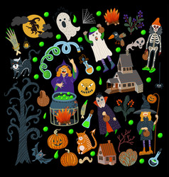 set halloween elements such as monster pumpkin vector image