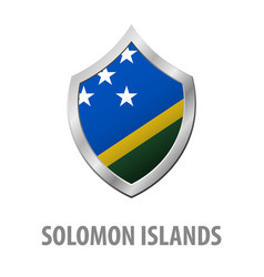 Solomon islands flag on metal shiny shield vector