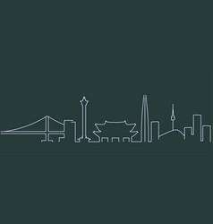 South korea simple line skyline and landmark vector
