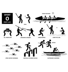 Sport games alphabet o icons pictograph oina ocean vector