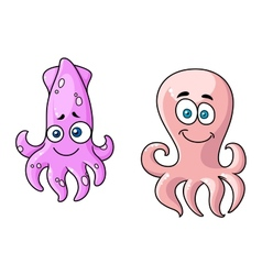Squid and octopus cartoon characters vector image