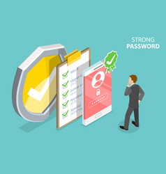 strong password 3d isometric flat vector image