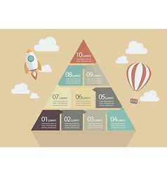 Ten step pyramid chart infographic vector
