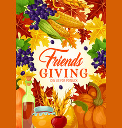 Thanksgiving autumn holiday friendsgiving vector