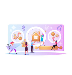 Tiny characters baking huge christmas bakery vector