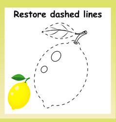 Trace game for children cartoon yellow lemon vector