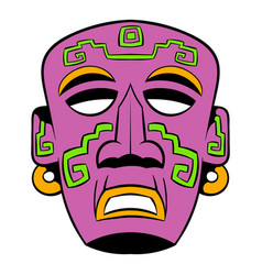Tribal mask icon cartoon vector
