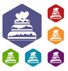 Wedding cake icons set vector