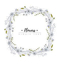 wildflower frame floral design template doodle vector image