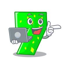 With laptop character paper cut number seven vector