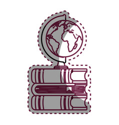 World planet with books school supply vector