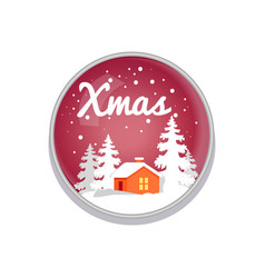 Xmas push-button depict on red vector