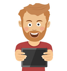 Young hipster man showing a tablet computer vector