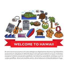 hawaii travel poster of hawaiian culture famous vector image