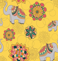 seamless with indian elephants vector image vector image