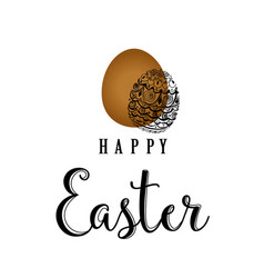 sketched happy easter happy easter hand lettering vector image